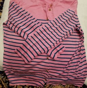 J Crew pink striped cardigan, size large